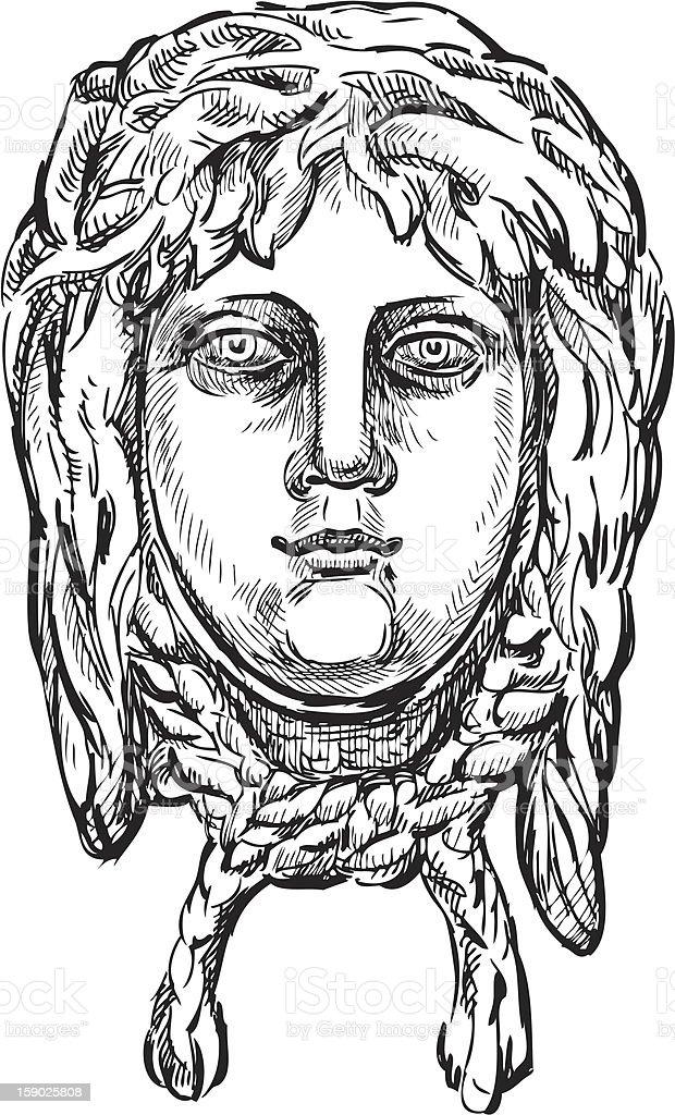 Ancient mask royalty-free stock vector art