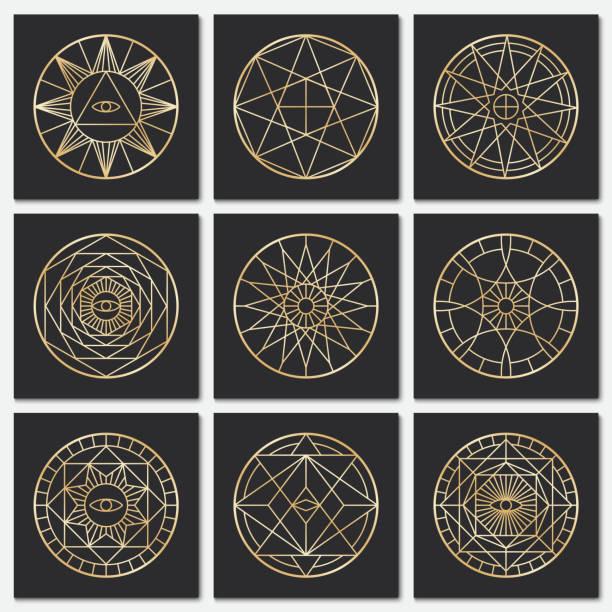 alten freimaurer pentagrammen. steampunk gold heiligen vektorsymbolen auf dunklen hintergründen - steampunk stock-grafiken, -clipart, -cartoons und -symbole