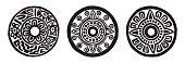Ancient maya circle flowers, black and white