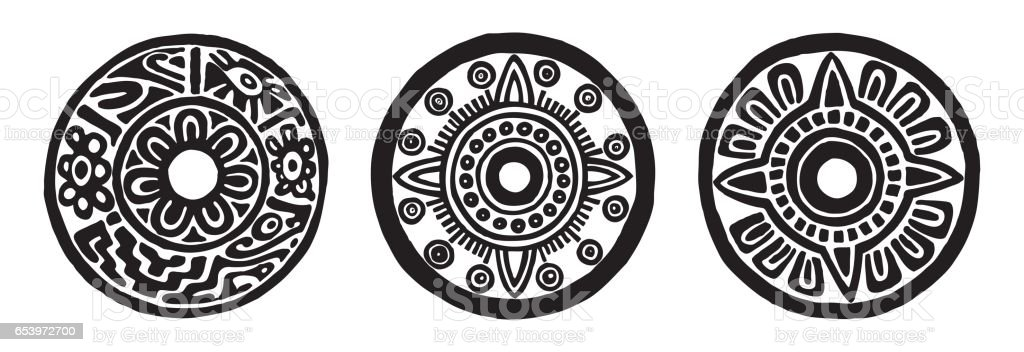 ancient maya circle flowers vector art illustration