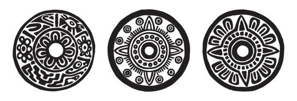 ancient maya circle flowers vector art illustration
