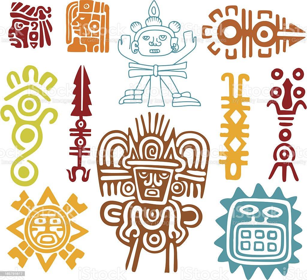 Maya Set- símbolos - ilustración de arte vectorial