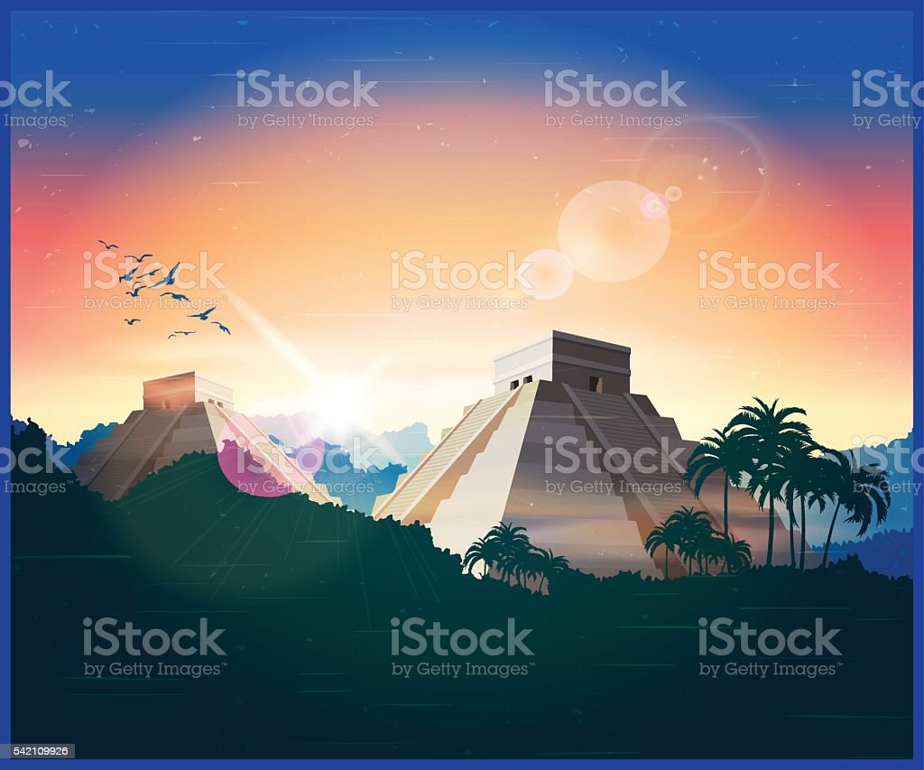 ancient Mayan pyramids vector art illustration