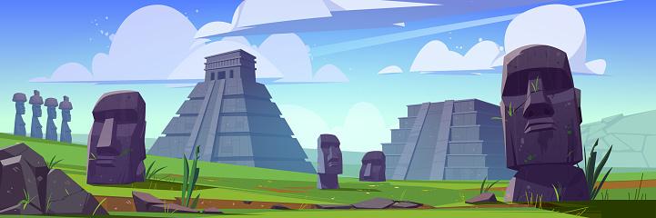 Ancient moai statues and mayan pyramids