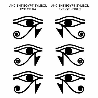 Ancient mystic egyptian symbol. Eye of gods Horus and Ra. Egyptian paganism. Ancient egyptian religion. Hieroglyph. Magic amulets. Set. Vector isolated editable black icon on white background.