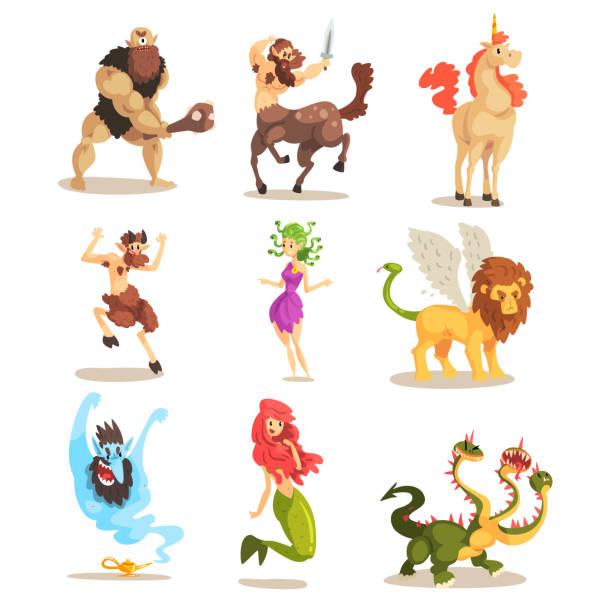 ancient mythical creatures set, cyclops, centaur, unicorn, satyr faun, medusa gorgon, three headed dragon, mermaid, winged lion vector illustrations on a white background - mythology stock illustrations