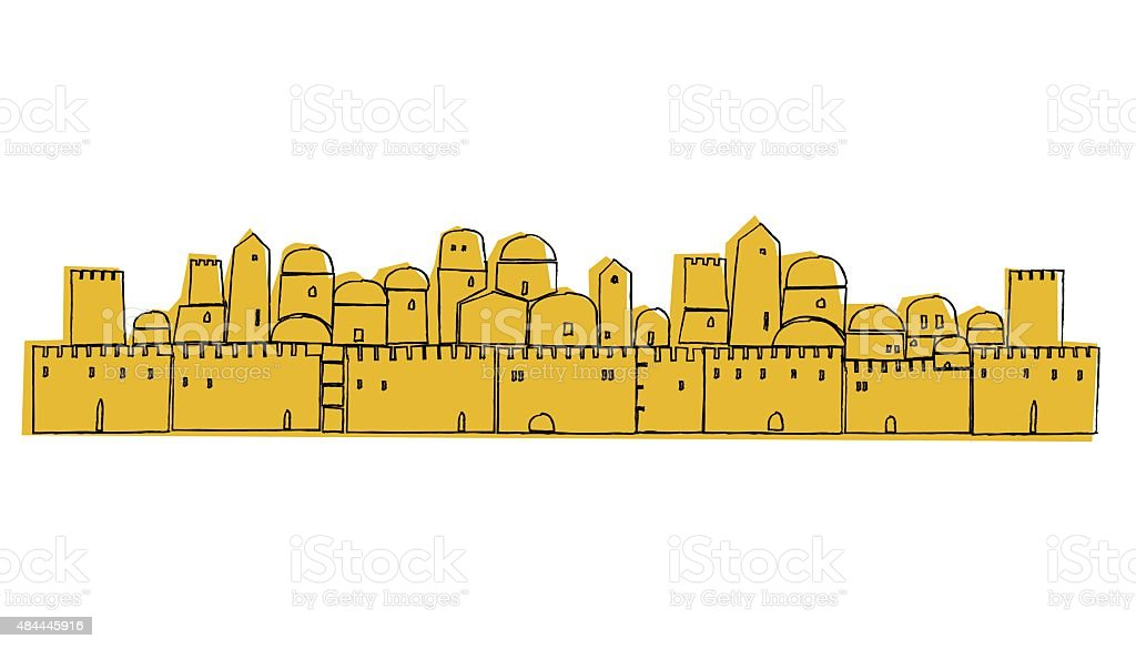Ancient, Old City, Middle East vector art illustration
