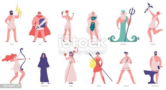 Antiguos dioses olímpicos. Dioses y diosas griegas, zeus, poseidón, atenea, dionisías y ares. Juegos Olímpicos dioses personajes dibujos animados vector ilustración conjunto
