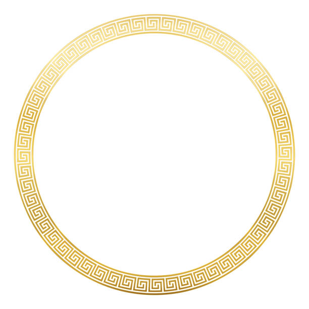 Ancient pattern frame, round golden meander design with seamless greek pattern,  decorative border, constructed from continuous lines, shaped into a repeated motif. White background. vector art illustration