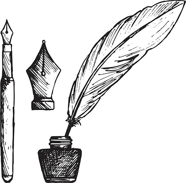 ancient pen, inkwell and old ink pen - pióro wieczne stock illustrations