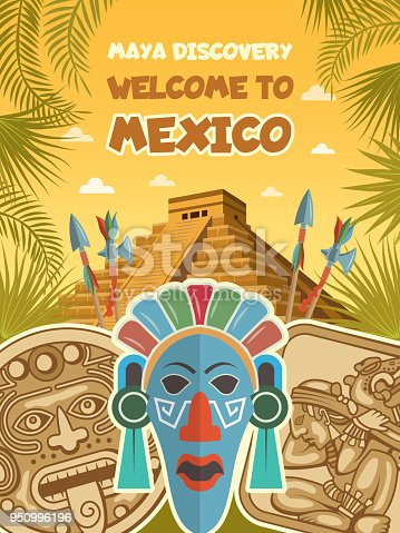 Ancient pictures of tribal masks, mayan artifacts and pyramids. Vector mayan culture, tribal aztec discovery civilization illustration