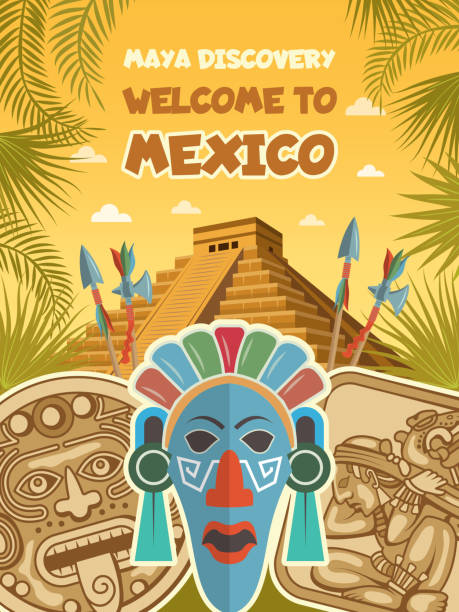 Ancient pictures of tribal masks, mayan artifacts and pyramids Ancient pictures of tribal masks, mayan artifacts and pyramids. Vector mayan culture, tribal aztec discovery civilization illustration ancient civilization stock illustrations