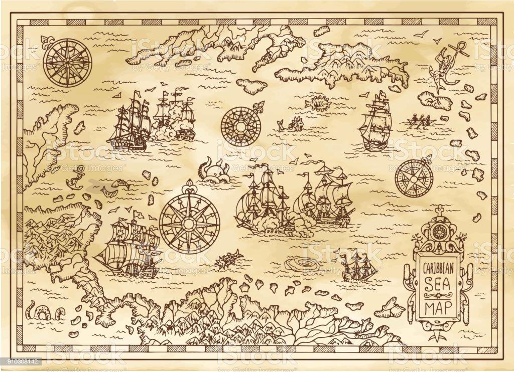 Ilustración De Mapa De Piratas Antiguos Del Mar Caribe Con Barcos