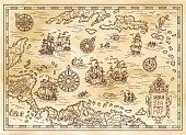 Ancient pirate map of the Caribbean Sea with ships, islands and fantasy creatures