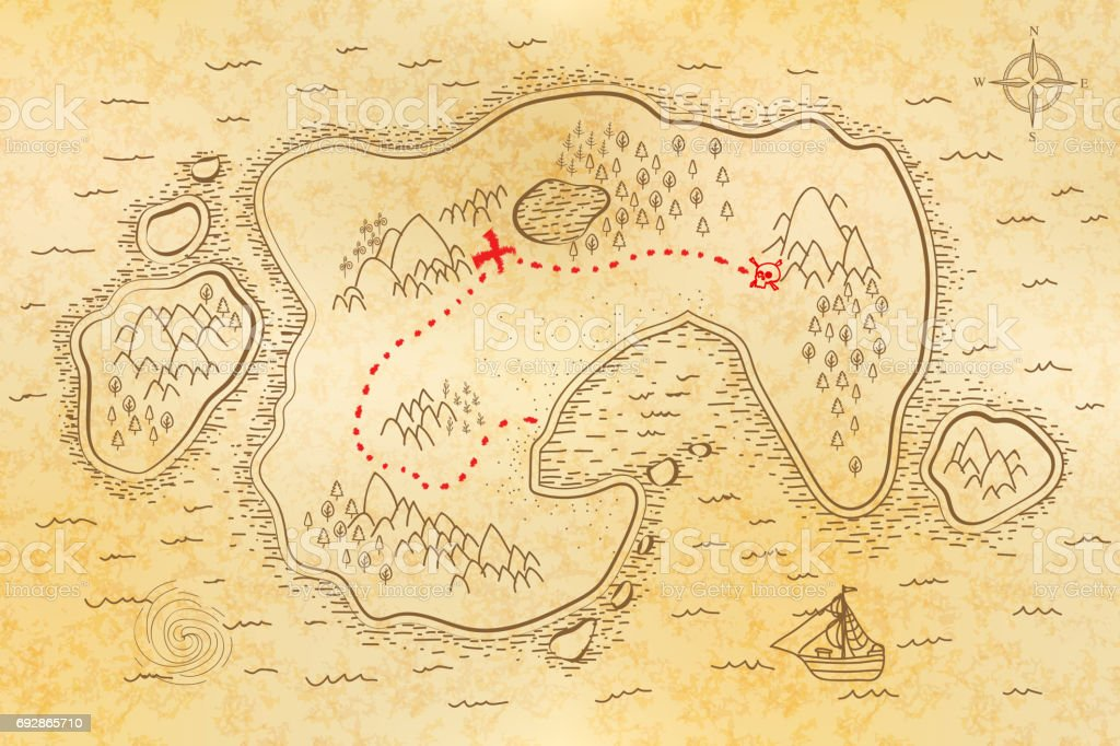 Ancient pirate map on old textured paper with red path to treasure vector art illustration