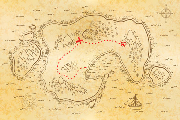 Treasure map texture stock illustrations