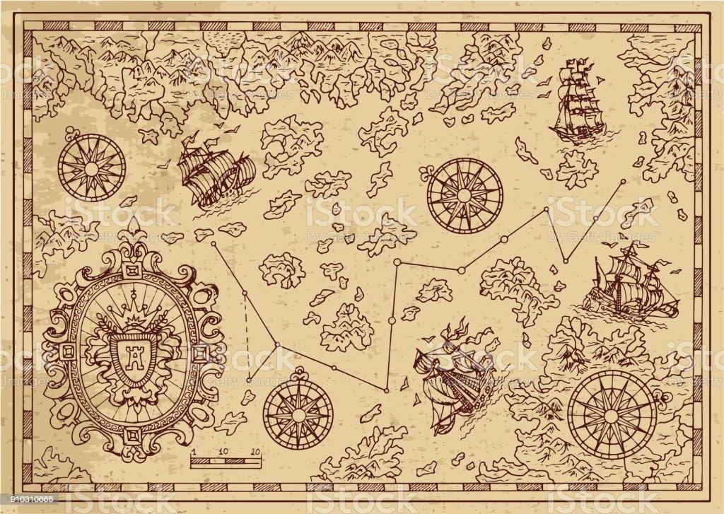 装飾的なフレーム、航行船舶の島々 と古代の海賊の地図 ベクターアートイラスト