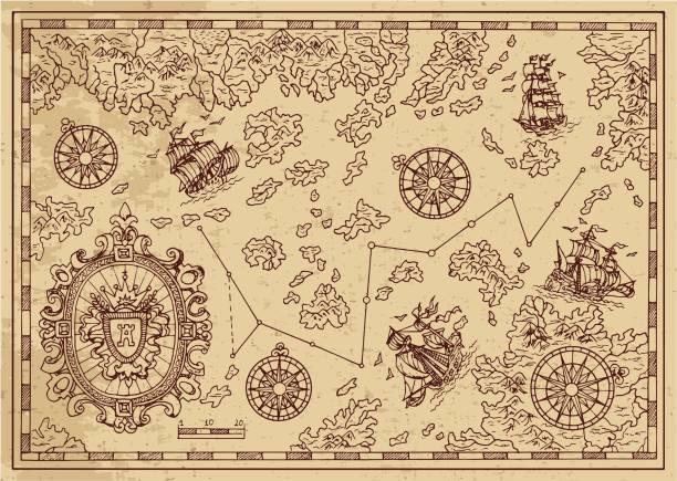 装飾的なフレーム、航行船舶の島々 と古代の海賊の地図 - ビンテージの地図点のイラスト素材/クリップアート素材/マンガ素材/アイコン素材
