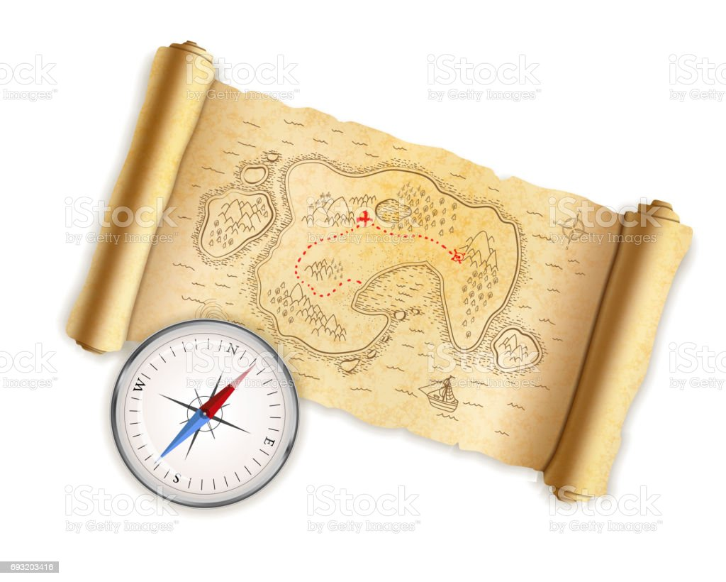 Ancient pirate map with paper texture with glossy compass isolated on white vector art illustration