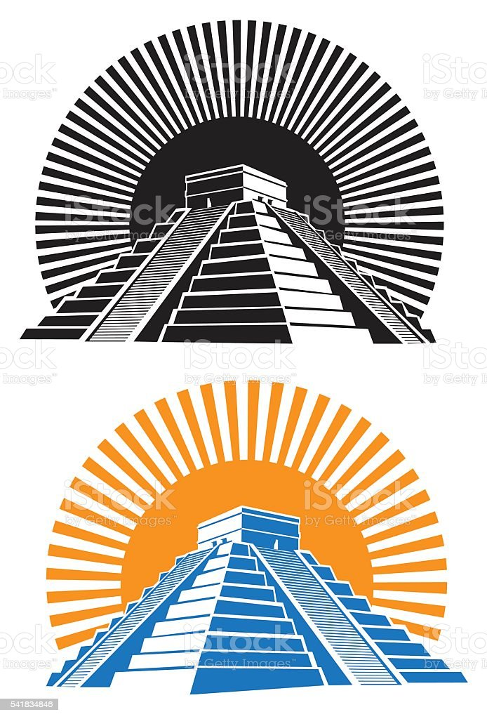 ancient pyramids vector art illustration