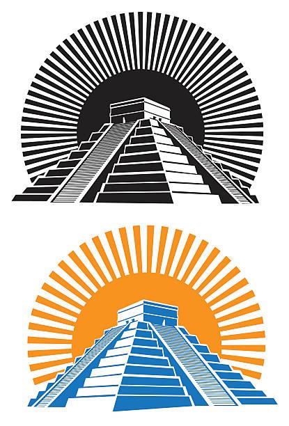 ancient pyramids vector art illustration