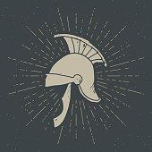Ancient roman helmet vintage label, Hand drawn sketch, grunge textured retro badge, typography design t-shirt print, vector illustration