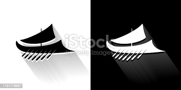 istock Ancient Roman Ship Black and White Icon with Long Shadow 1191176957