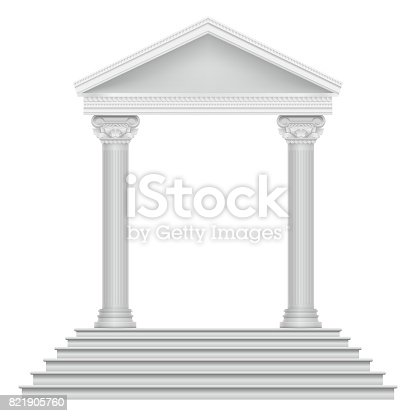 Ancient roman temple with steps and columns. Building architecture roman ancient, vector illustration