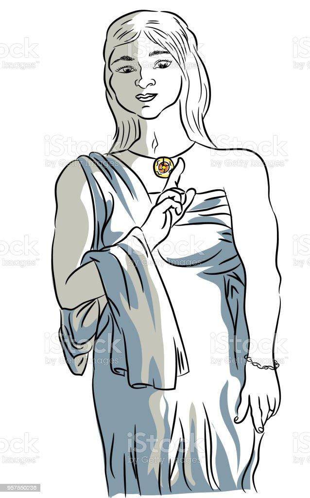 Antik Roma'lı kadın kostüm. royalty-free antik romalı kadın kostüm stok vektör sanatı & abd'nin daha fazla görseli