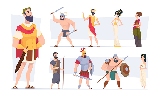 Ancient rome. Authentic clothes of rome traditional citizens medieval outfit coliseum warriors exact vector cartoon characters. Rome ancient traditional, culture archaic civilization illustration