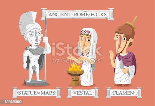 Ancient Rome religion set: a statue of Mars, a vestal protecting the sacred fire, and a flamen doing a ritual.