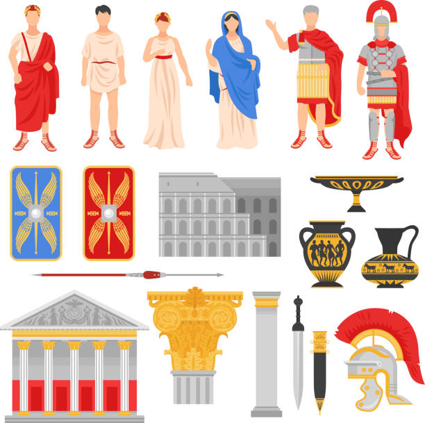 ancient rome empire set - empire stock illustrations