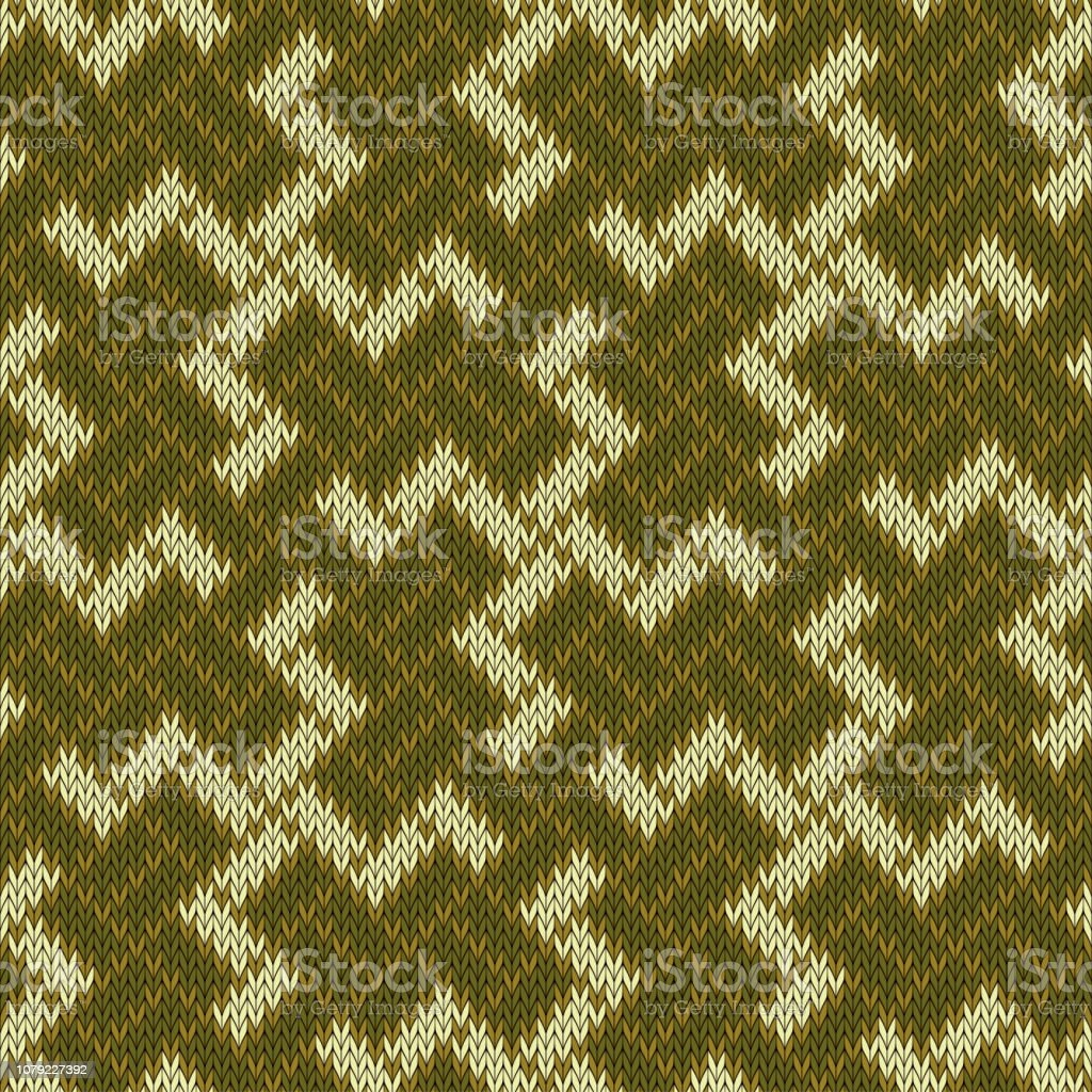 Ancient sacred symbol. Seamless knitted wool pattern vector art illustration