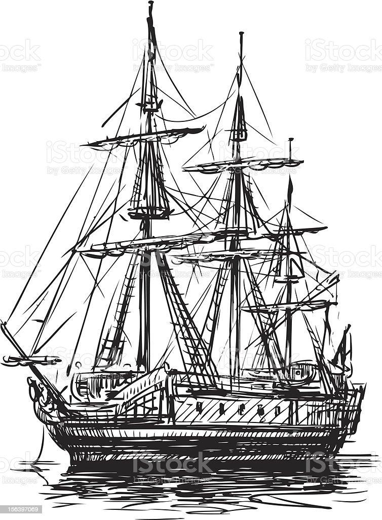 ancient sailboat royalty-free stock vector art