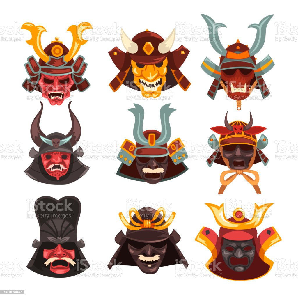 Ancient Samurai Warrior War Masks Set Symbols Of Traditional