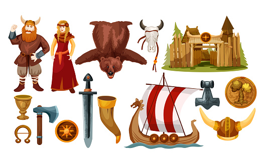 Ancient Scandinavian and viking culture icons