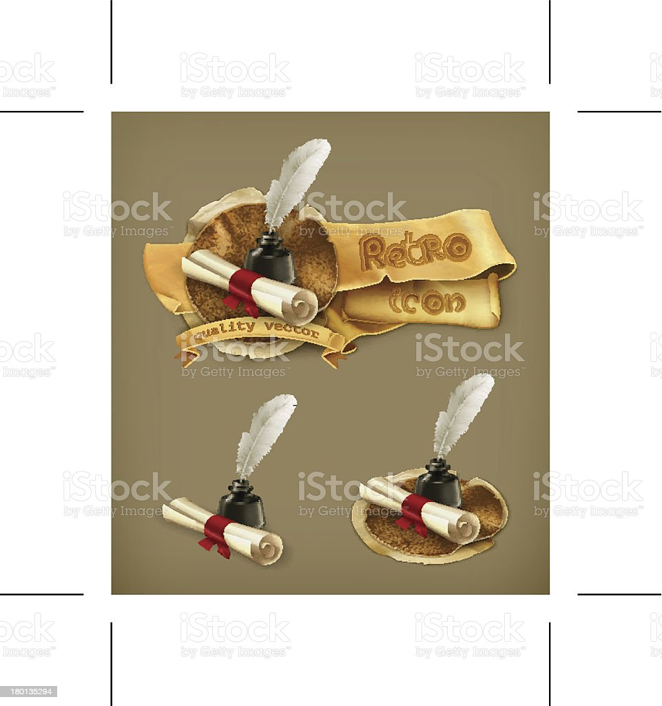 Ancient scroll and feather. Eps10 vector illustration contains...