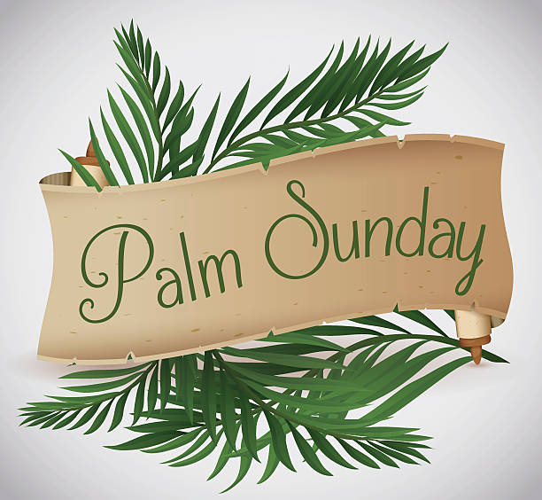 Ancient Scroll with Palm Branches behind for Palm Sunday Holiday Palm branches behind a ancient scroll for traditional Palm Sunday. lent stock illustrations