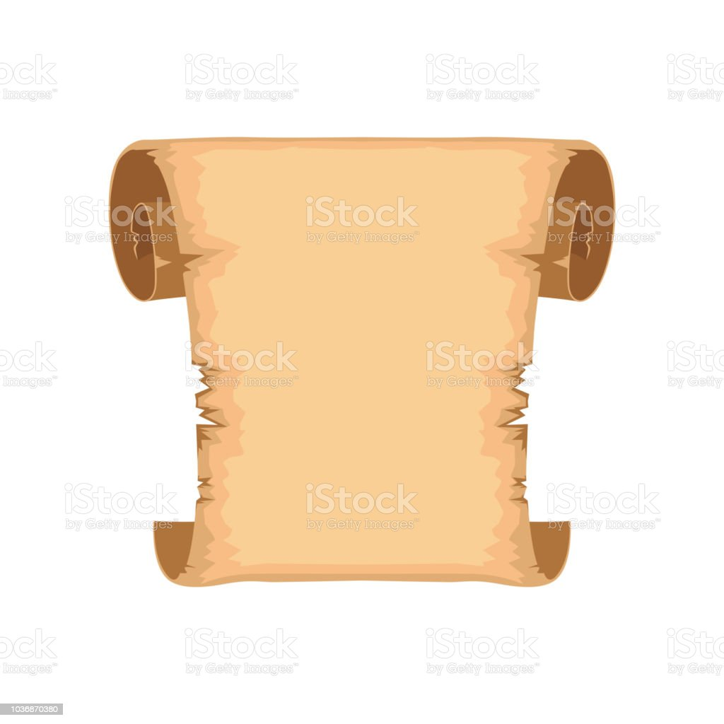 Ancient scroll with space for text, rolled paper vector Illustration...