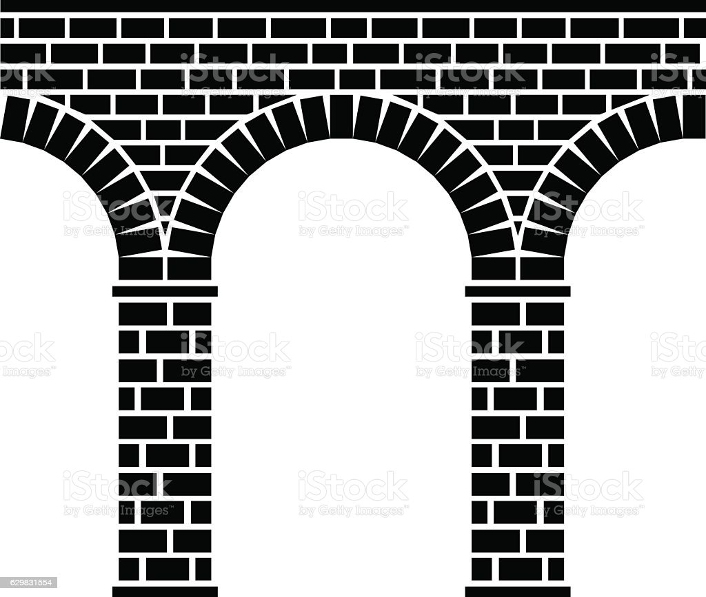 ancient seamless stone bridge viaduct aqueduct vector art illustration