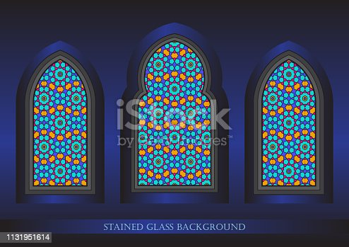 Ancient stained glass ornamental windows