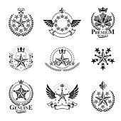 Ancient Stars emblems set. Heraldic vector design elements collection. Retro style label, heraldry icon.