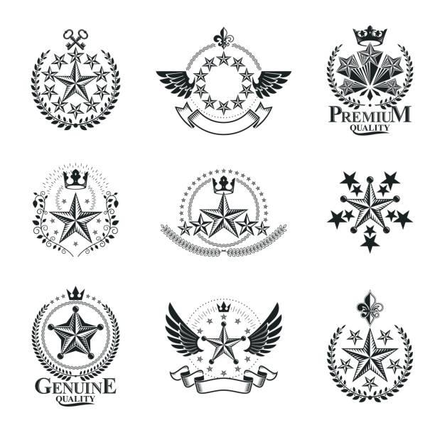 bildbanksillustrationer, clip art samt tecknat material och ikoner med gamla stjärnor emblem set. heraldiska vektor design element samling. retro stil etikett, heraldik ikonen. - celebrities of age
