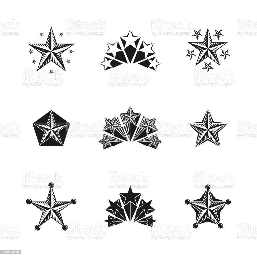 Ancient Stars emblems set. Heraldic vector design elements collection. Retro style label, heraldry. vector art illustration