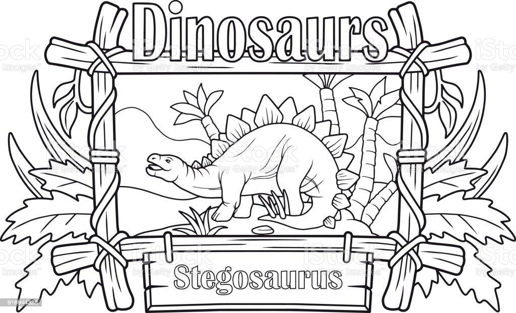 Ilustración de Stegosaurus Antigua Libro Para Colorear y más banco ...