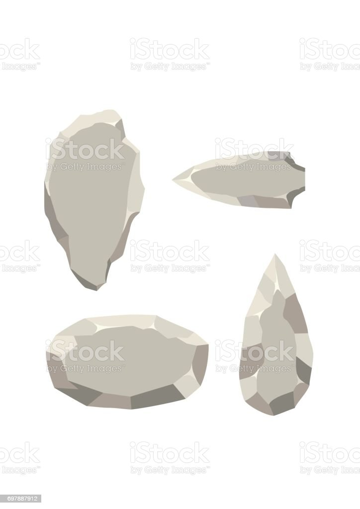 Ancient stone tools set isolated on white background. Primitive culture Stone age tool in flat style vector art illustration