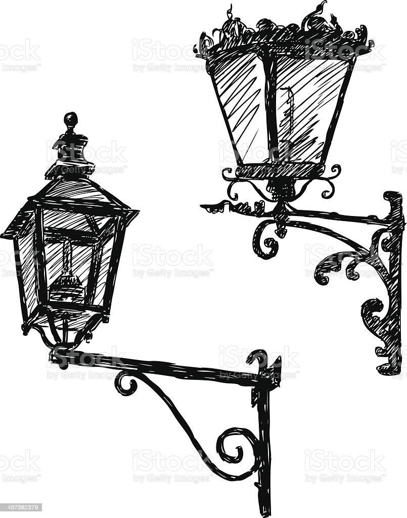 Ancient Street Lights Stock Vector Art  for Street Light Drawing  269ane