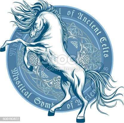 Ancient symbol of prancing unicorn in vetor graphic style. EPS 8.
