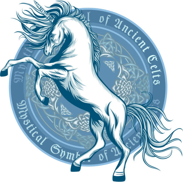 ancient symbol of unicorn - celtic tattoos stock illustrations, clip art, cartoons, & icons