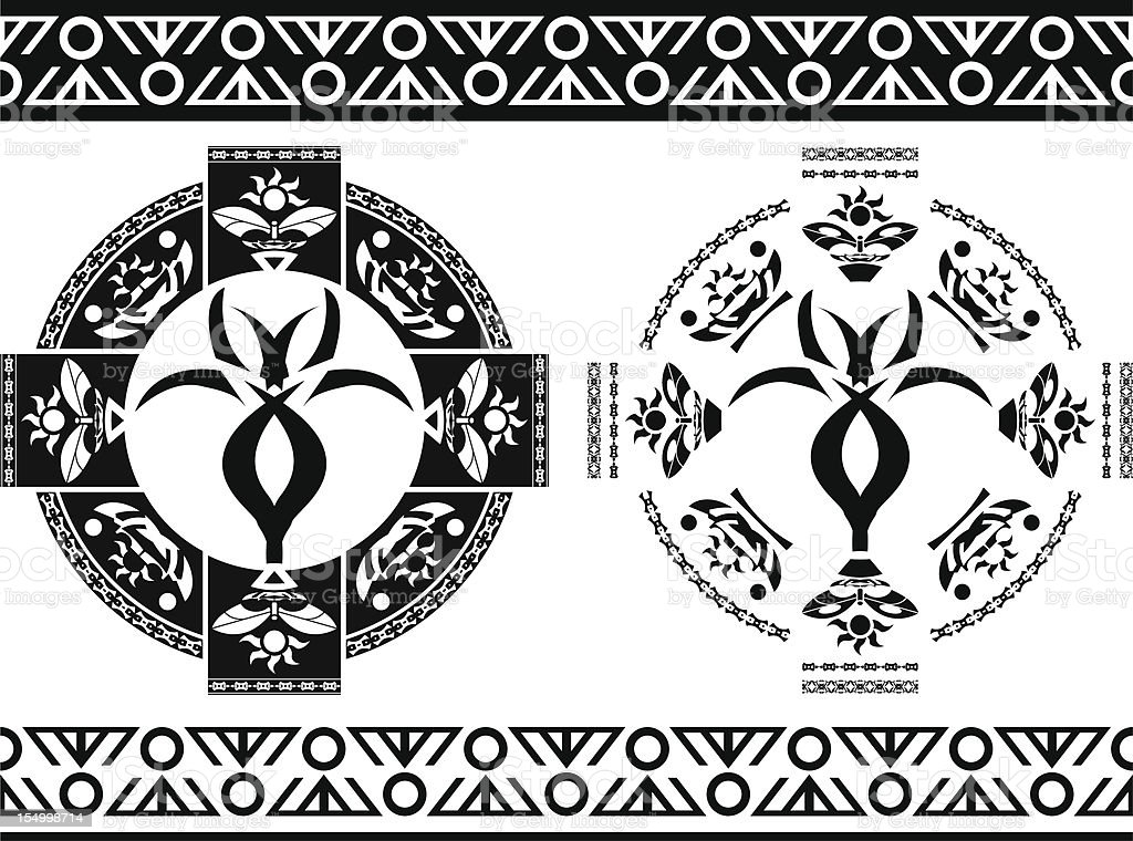 Ancient Symbols And Borders Stencils Vector Illustration Stock